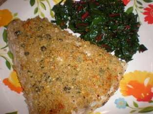 Baked FIsh Fillets with Swiss Chard