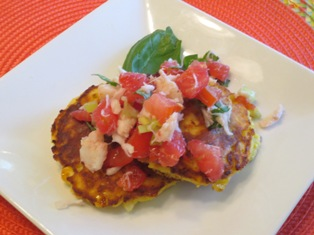 Summer Corn Cakes with Crab-Tomato Salad