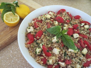 Farro Salad with Tomatoes, Mozzarella and Herbs