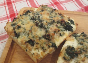 Ciabatta Bread Pizza with Ricotta, Kale, and Sausage