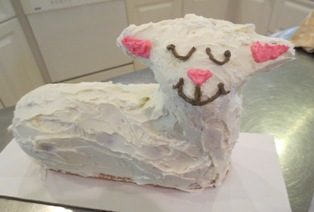 Lamb Cake with Face and Ears Decorated
