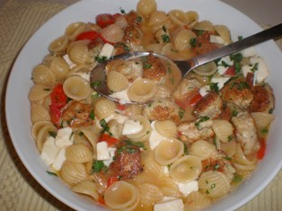 Orecchiette with Chicken Meatballs