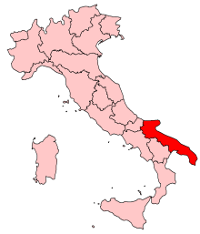 Italy Map with Puglia Highlighted