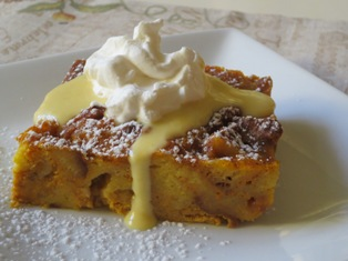 Pumpkin Panettone Bread Pudding
