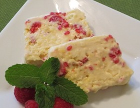 White Chocolate and Raspberry Semifreddo