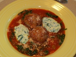 Beef and Ricotta Meatballs served with Raviolu Nudi