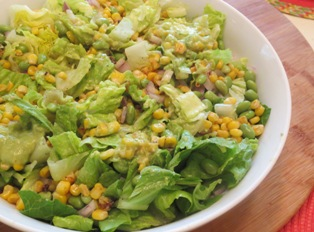 Romaine and Corn Salad with Avocado Dressing