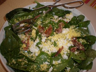 Spinach Salad with Prosciutto and Eggs