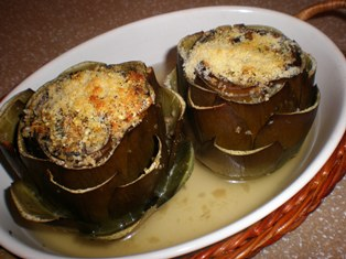 Artichokes Stuffed with Breadcrumbs, Olives, Parmesan, Capers, and Herbs