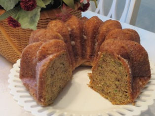 Zucchini Bundt Cake with Crunchy Orange Glaze